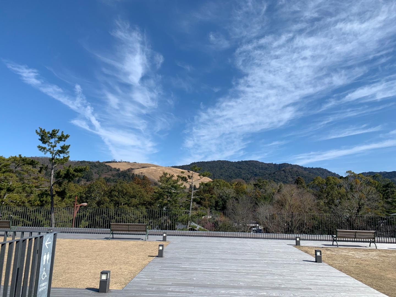 奈良公園バスターミナル屋上から見た若草山